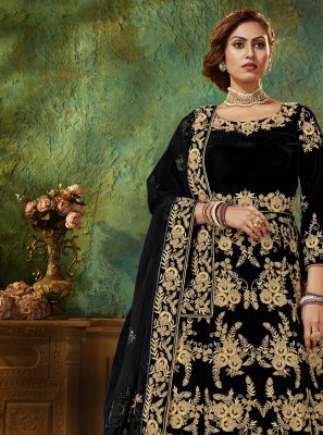 Black Velvet Resham Floor Length Anarkali Salwar Suit