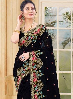 Black Vichitra Silk Resham Traditional Saree