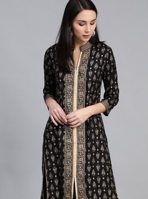 Black Viscose Print Party Wear Kurti