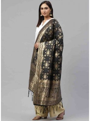 Black Weaving Art Silk Designer Dupatta