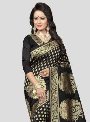 Black Weaving Art Silk Traditional Designer Saree