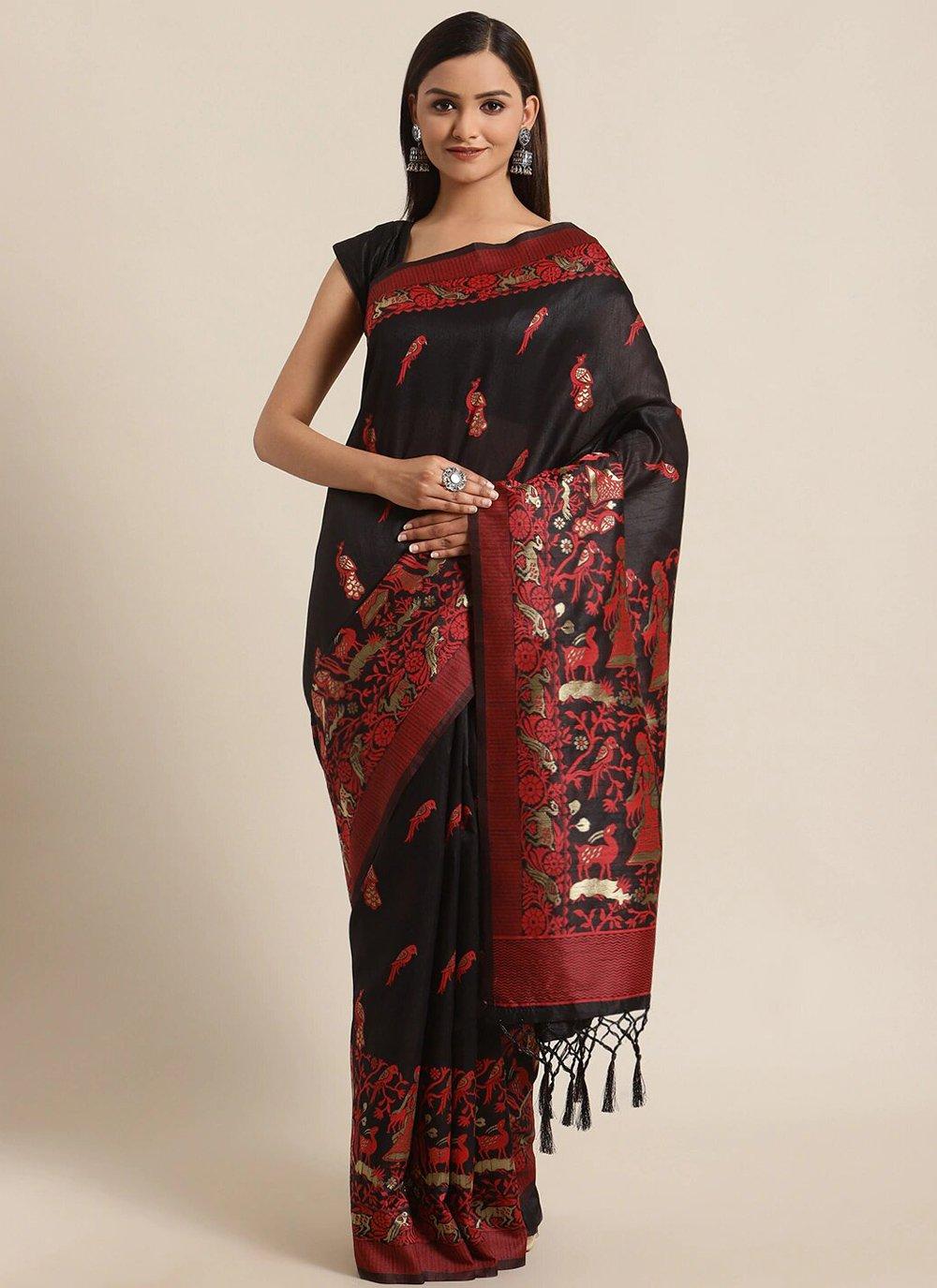 Black Woven Bhagalpuri Silk Traditional Saree