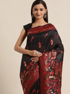 Black Woven Bhagalpuri Silk Traditional Saree