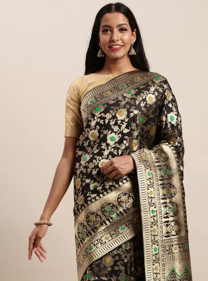 Black Woven Designer Traditional Saree