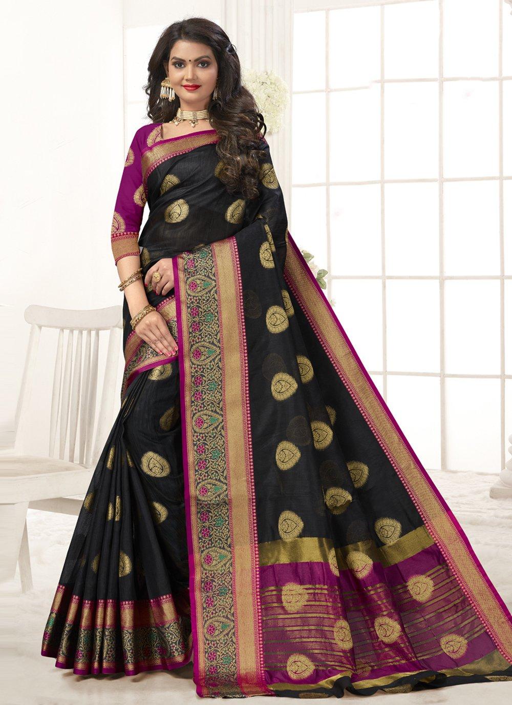 Black Woven Traditional Designer Saree