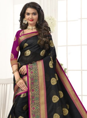 Black Woven Traditional Designer Saree