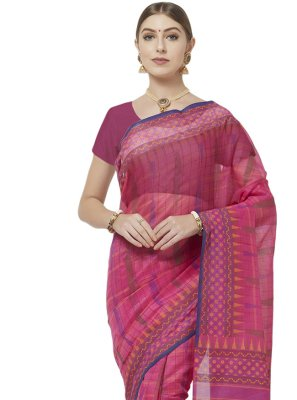 Blended Cotton Abstract Print Hot Pink Printed Saree