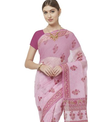 Blended Cotton Abstract Print Pink Printed Saree