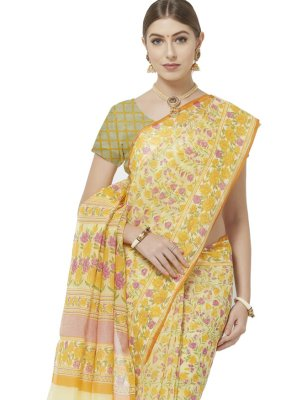 Blended Cotton Abstract Print Printed Saree