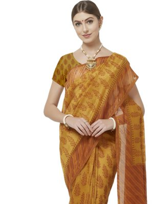 Blended Cotton Abstract Print Printed Saree in Mustard