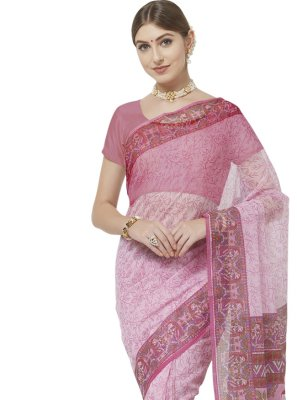 Blended Cotton Abstract Print Printed Saree in Pink