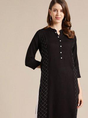 Blended Cotton Black Fancy Party Wear Kurti