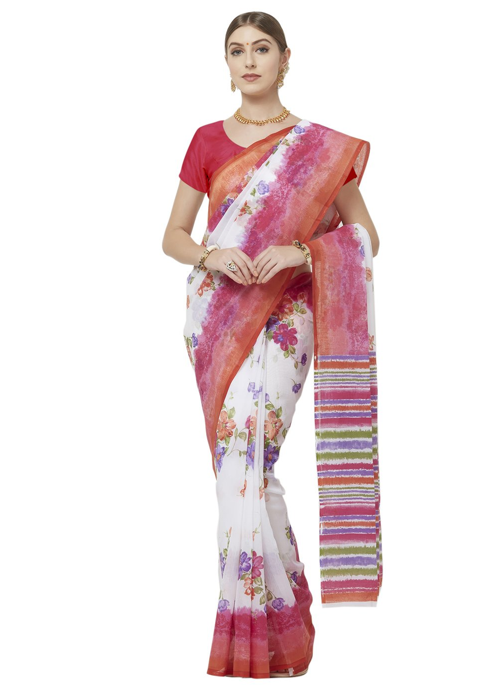 Blended Cotton Casual Printed Saree