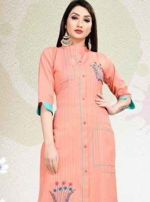 Blended Cotton Embroidered Peach Party Wear Kurti