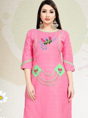 Blended Cotton Embroidered Pink Party Wear Kurti