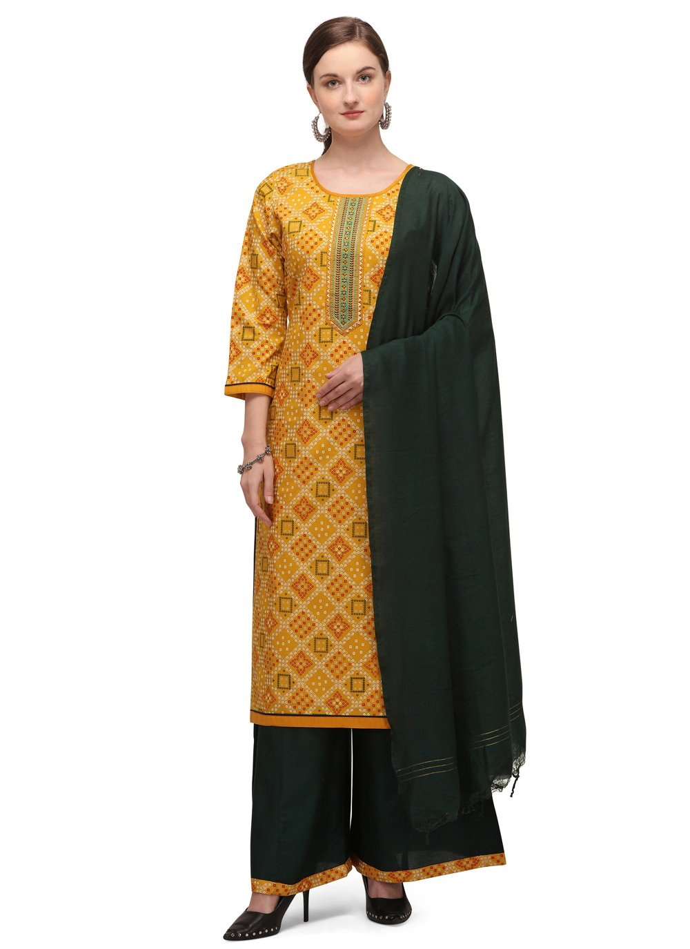 Blended Cotton Embroidered Yellow Designer Palazzo Suit