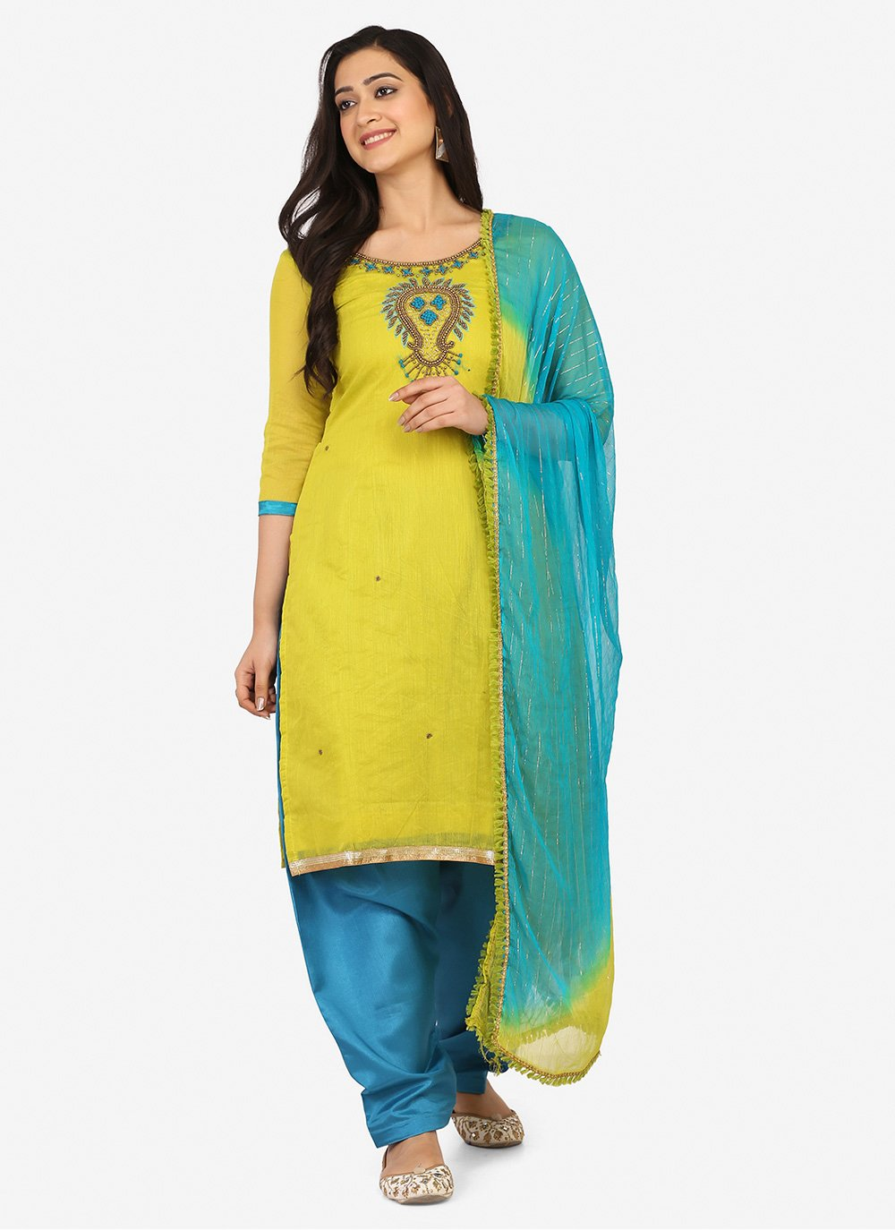 Blended Cotton Green Embroidered Patiala Suit