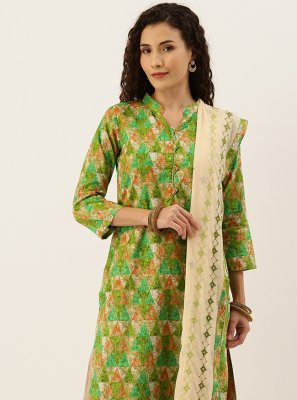 Blended Cotton Green Palazzo Suit