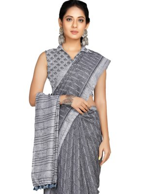 Blended Cotton Grey Casual Saree