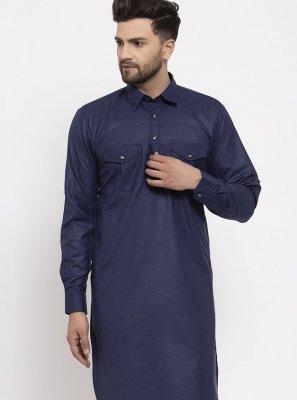 Blended Cotton Navy Blue Plain Kurta Pyjama