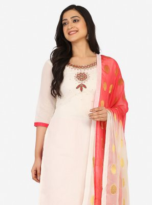 Blended Cotton Off White Embroidered Patiala Suit