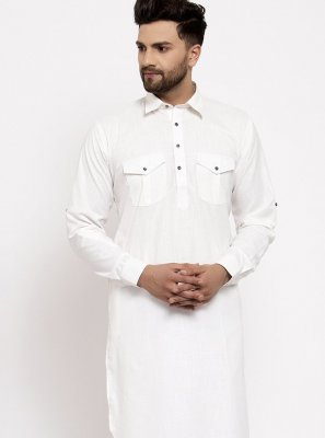 Blended Cotton Off White Plain Kurta Pyjama