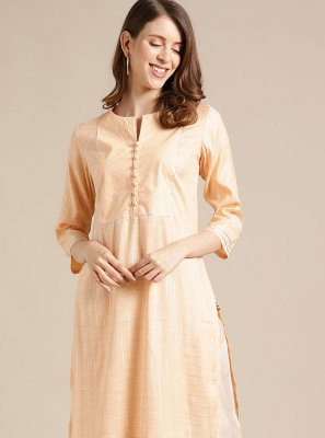 Blended Cotton Party Wear Kurti in Peach