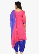 Blended Cotton Pink Embroidered Patiala Suit