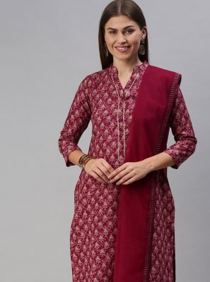 Blended Cotton Pink Print Designer Palazzo Suit
