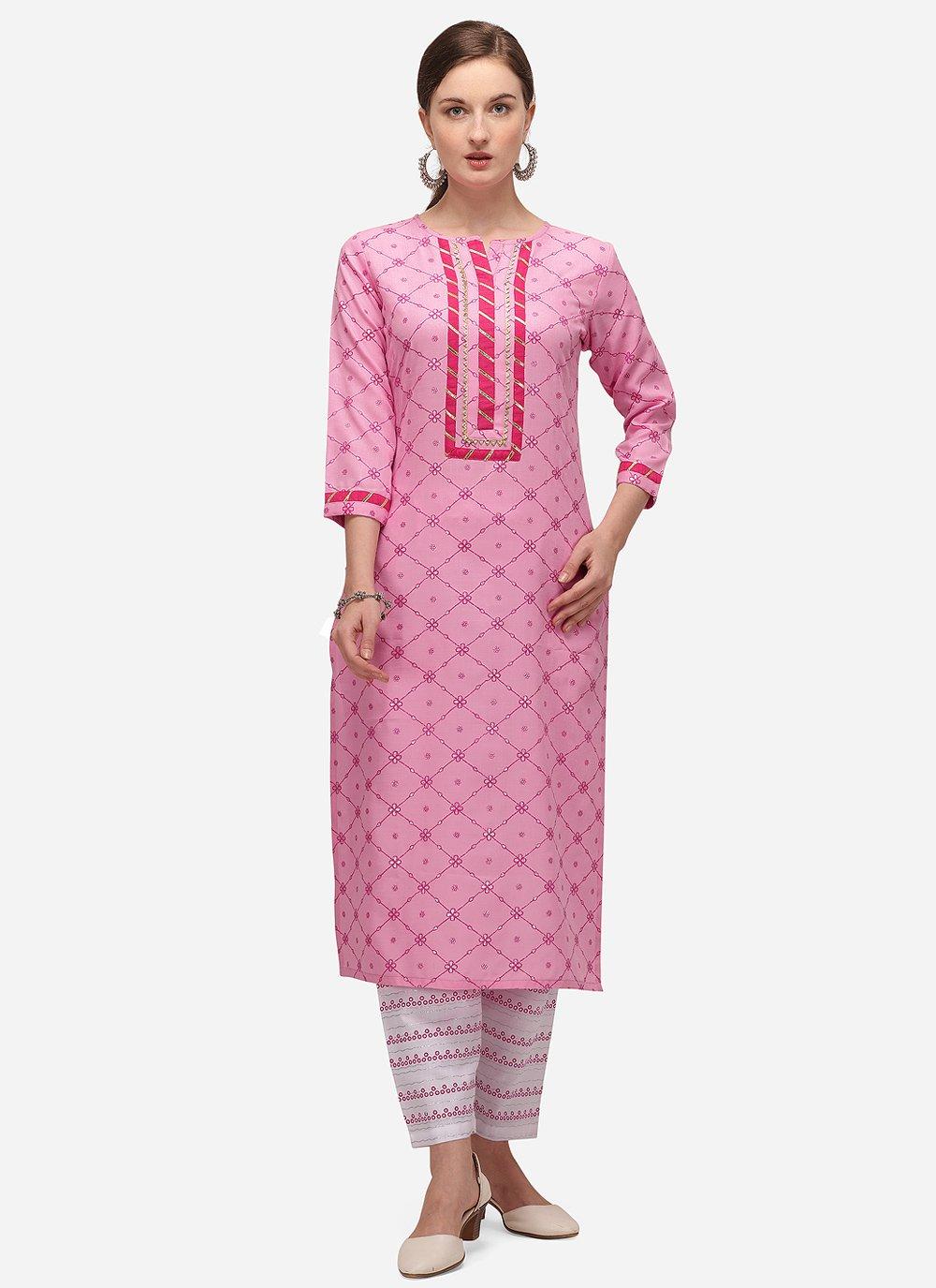 Blended Cotton Pink Print Party Wear Kurti