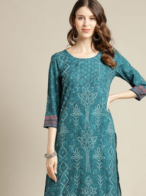 Blended Cotton Print Party Wear Kurti in Sea Green