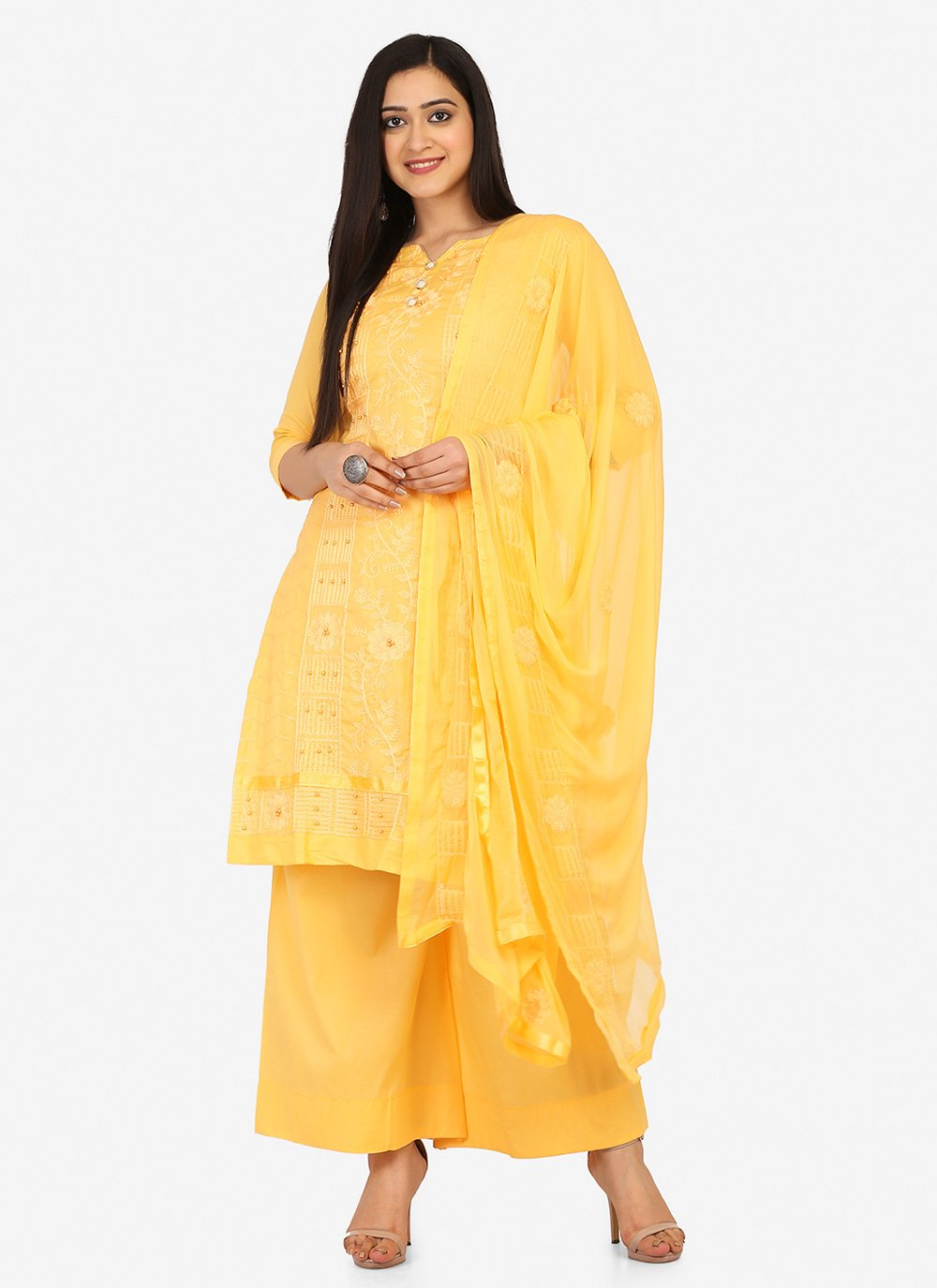 Blended Cotton Yellow Fancy Designer Palazzo Suit