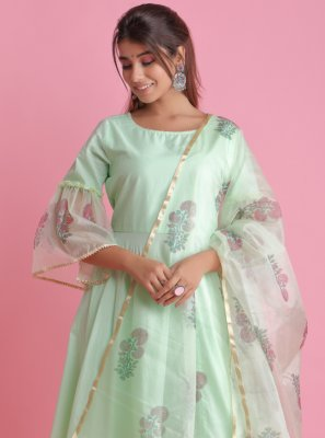 Block Print Green Readymade Suit