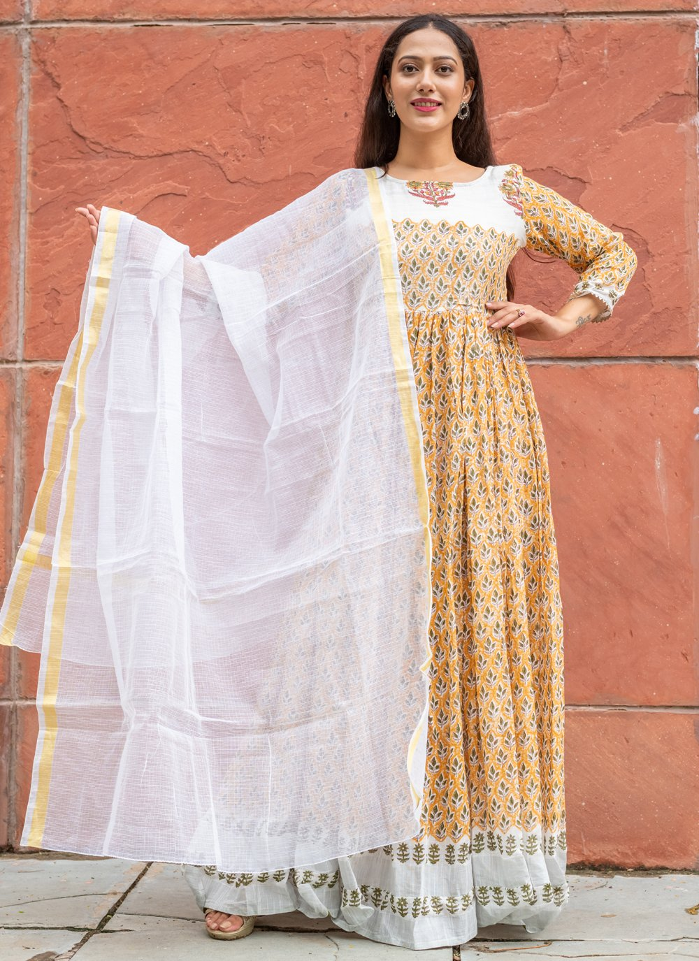 Block Print Linen Readymade Suit in Yellow