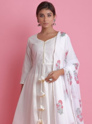Block Print Off White Cotton Readymade Suit