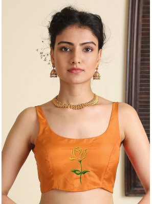 Blouse Embroidered Satin Silk in Orange