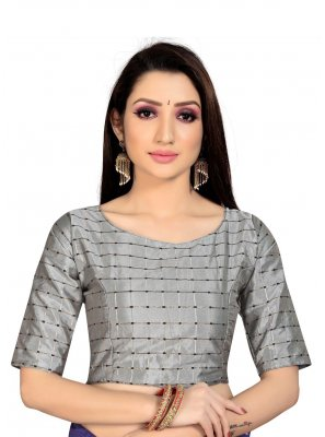 Blouse Printed Art Silk in Grey