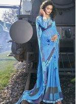 Blue Abstract Print Faux Georgette Casual Saree