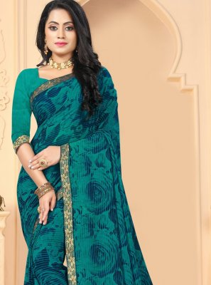 Blue Abstract Print Faux Georgette Printed Saree