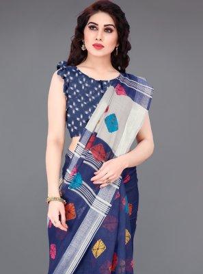 Blue Abstract Print Printed Saree