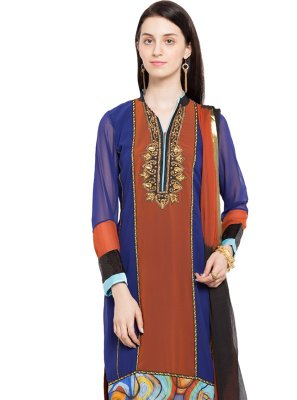 Blue and Brown Embroidered Faux Georgette Readymade Churidar Salwar Kameez