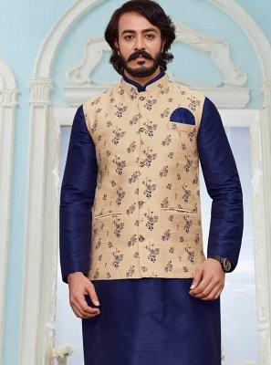 Blue and Cream Festival Jacquard Silk Kurta Payjama With Jacket