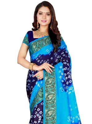 Blue and Firozi Art Silk Traditional Saree