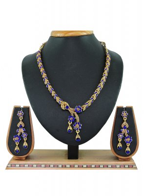 Blue and Gold Color Necklace Set