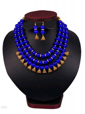 Blue and Gold Moti Festival Necklace Set