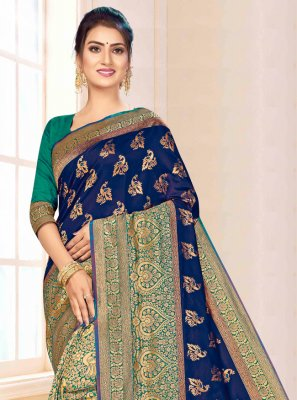 Blue and Green Banarasi Silk Party Trendy Saree
