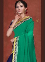 Blue and Green Embroidered Ceremonial Designer Half N Half Saree