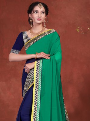 Blue and Green Embroidered Ceremonial Designer Half N Half Saree