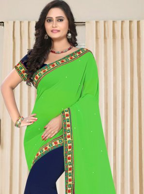 Blue and Green Embroidered Faux Georgette Half N Half  Saree