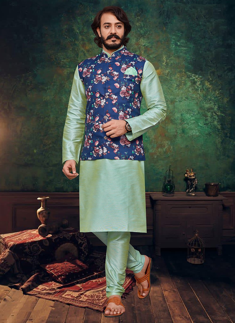 Blue and Green Mehndi Art Silk Kurta Payjama With Jacket